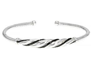 Green Diamond Rhodium Over Sterling Silver Cuff Bracelet 0.35ctw