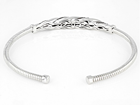 Red Diamond Rhodium Over Sterling Silver Cuff Bracelet 0.35ctw