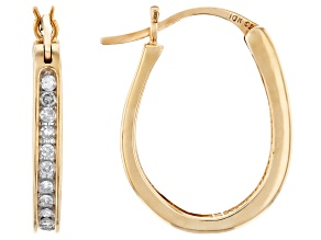 White Diamond 10K Yellow Gold Hoop Earrings 0.25ctw