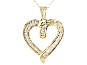 White Diamond 10K Yellow Gold Heart Pendant With 18 Inch Rope Chain 1.00ctw
