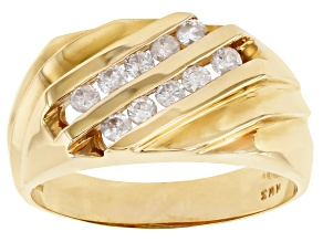 White Diamond 14K Yellow Gold Mens Ring 0.50ctw