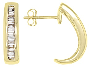 White Diamond 14K Yellow Gold J-Hoop Earrings 0.45ctw