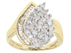 White Diamond 14K Yellow Gold Cluster Ring 1.00ctw