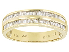 White Diamond 14K Yellow Gold Band Ring 0.50ctw