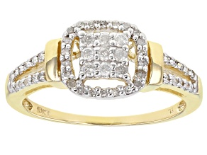 White Diamond 10K Yellow Gold Cluster Ring 0.25ctw