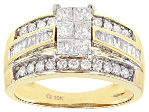 White Diamond 10K Yellow Gold Quad Ring 1.00ctw