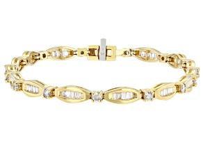 White Diamond 14K Yellow Gold Tennis Bracelet 2.00ctw