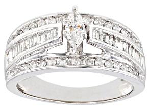 White Diamond 10K White Gold Center Design Ring 1.00ctw