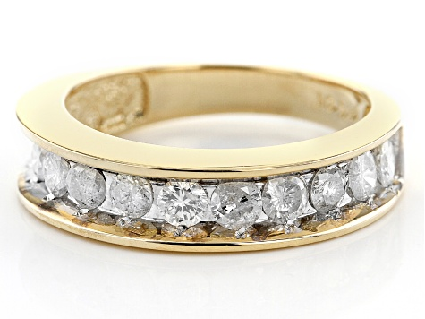 White Diamond 14K Yellow Gold Band Ring 1.00ctw