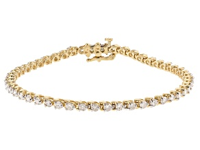 White Diamond 14K Yellow Gold Tennis Bracelet 3.00ctw