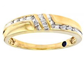 White Diamond 10K Yellow Gold Mens Ring 0.10ctw