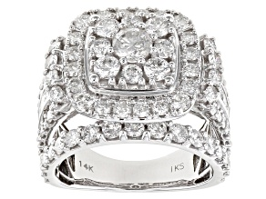 White Diamond 14k White Gold Cluster Ring 4.00ctw