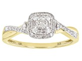 White Diamond 10k Yellow Gold Cluster Ring 0.33ctw