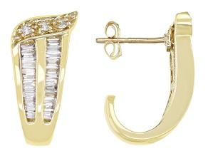 White Diamond 14K Yellow Gold J-Hoop Earrings 0.55ctw