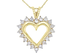 White Diamond 14K Yellow Gold Heart Pendant With Chain 1.00ctw