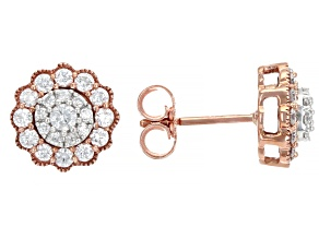 White Diamond 10k White and Rose Gold Cluster Stud Earrings 0.50ctw