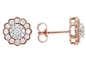 White Diamond 10k White and Rose Gold Cluster Stud Earrings 0.50ctw
