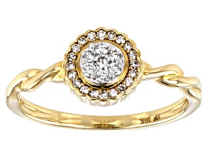 White Diamond 10k Yellow Gold Promise Ring 0.20ctw