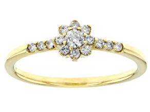 White Diamond 10k Yellow Gold Promise Ring 0.25ctw