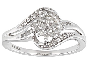White Diamond 10k White Gold Cluster Ring 0.25ctw