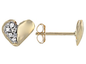 White Diamond Accent 10K Yellow Gold Heart Stud Earrings
