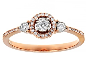 White Diamond 10k Rose Gold Ring 0.25ctw