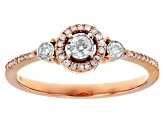 White Diamond 10k Rose Gold Promise Ring 0.25ctw