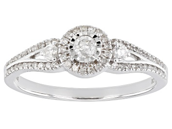 Picture of White Diamond 10k White Gold Cluster Ring 0.33ctw