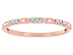 White Diamond Accent 10k Rose Gold Band Ring