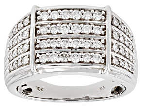 White Diamond 10k White Gold Mens Multi-Row Ring 1.00ctw