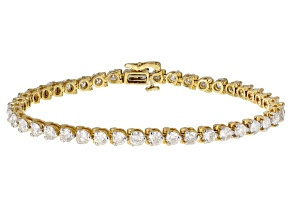 White Diamond 14K Yellow Gold Tennis Bracelet 7.00ctw