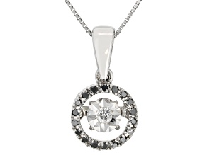 Black And White Diamond 10k White Gold Dancing Pendant With 18