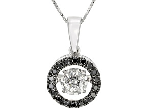 Black And White Diamond 14k White Gold Dancing Pendant With 18