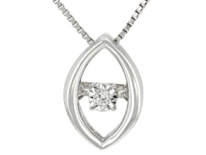 "White Diamond Accent 10k White Gold Dancing Diamond Pendant With 18"" Box Chain"