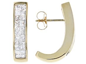 White Diamond 14K Yellow Gold J-Hoop Earrings 1.00ctw