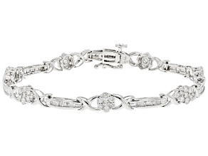 White Diamond 10K White Gold Flower Tennis Bracelet 2.00ctw