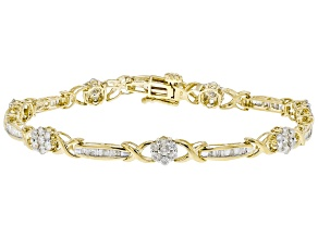 White Diamond 10K Yellow Gold Flower Tennis Bracelet 2.00ctw
