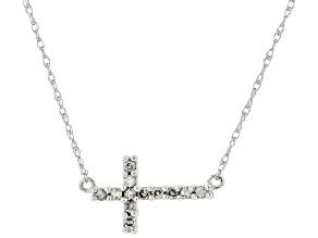 White Diamond 14K White Gold Cross Necklace 0.10ctw