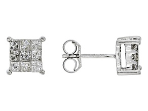 White Diamond 10K White Gold Stud Earrings 0.50ctw