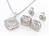 White Diamond Rhodium Over Sterling Silver Pendant & Earring Jewelry Set 0.10ctw