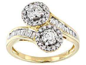 White Diamond 10k Yellow Gold Bypass Ring 1.00ctw