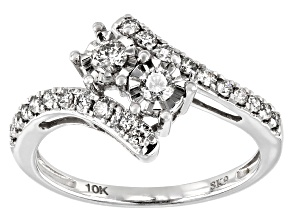 White Diamond 10K White Gold Bypass Ring 0.50ctw