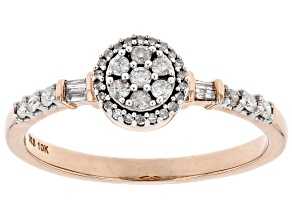 White Diamond 10K Rose Gold Promise Ring .25ctw