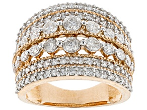 White Diamond 10K Rose Gold Wide Band Ring 2.00ctw