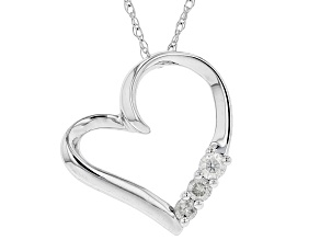 White Diamond 10K White Gold Heart Pendant With Chain 0.10ctw