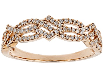 Picture of White Diamond 10K Rose Gold Band Ring 0.30ctw