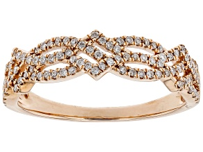 White Diamond 10K Rose Gold Band Ring 0.30ctw