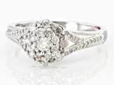 White Diamond Rhodium Over Sterling Silver Cluster Ring 0.50ctw