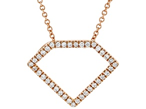 White Diamond 10K Rose Gold Pendant With Cable Chain 0.15ctw
