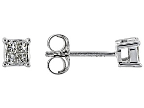White Diamond 14K White Gold Stud Earrings .10ctw